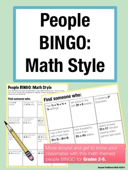 People BINGO: Math Style (Grades 2-5) Back to School Activity