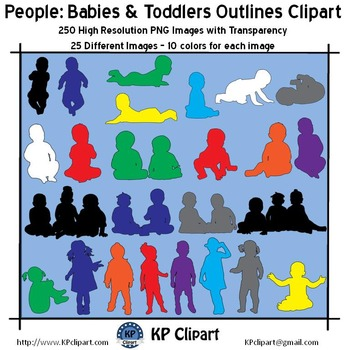 People Babies and Toddlers Outline Clipart
