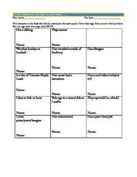 People Bingo Icebreaker- First week