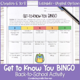People BINGO or Get to Know You BINGO Back to School Activity for Middle School