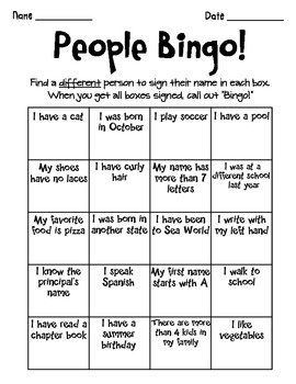People Bingo Beginning Of The Year 265517 on 5 Free Brain Break Printables