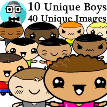 People Clipart - Cute Boys [Diversity Pack]