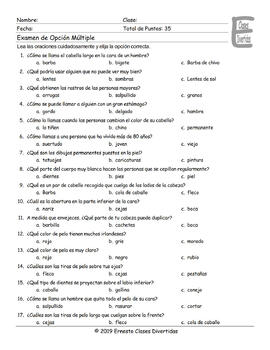 People Descriptions Spanish Multiple Choice Exam