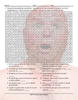 People Descriptions Spanish Word Search Worksheet