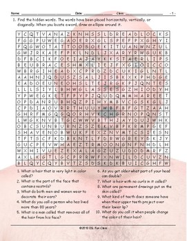 People Descriptions Word Search Worksheet