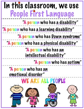 People First Language Classroom Poster
