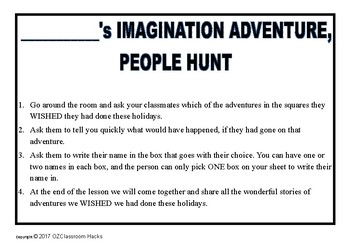 People Hunt - First day back at school, Getting To Know You and your Imagination