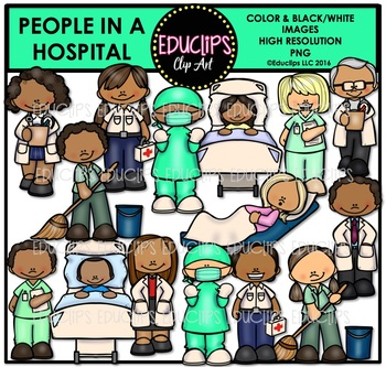 People In A Hospital Clip Art Bundle {Educlips Clipart}