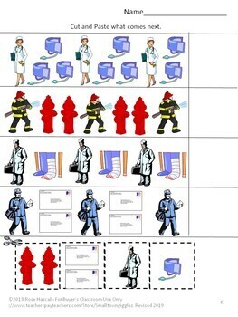 Community Helpers Cut and Paste Worksheets, Special Education, Fine Motor Skills