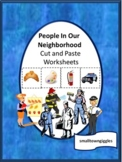 Community Helpers Cut and Paste Worksheets, Special Educat