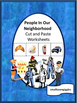 Community Helpers Cut and Paste Worksheets Math & Literacy