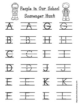 People In Our School:  Alphabet Scavenger Hunt: Upper and Lowercase Letters