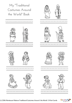 Traditional Costumes Around The World 3-Part Montessori Cards