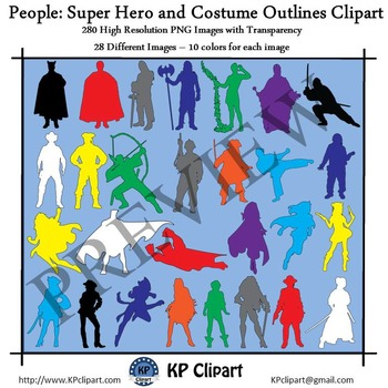 People Super Hero and Costume Outlines Clipart