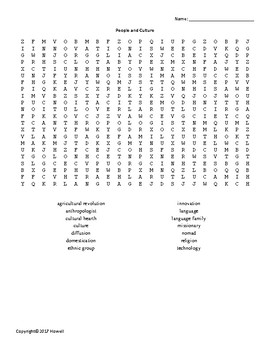 People and Culture Vocabulary Word Search for Middle School Geography