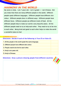People and Cultures - Harmony (I) - Grade 1 (with 'Triple-Track Writing Lines')