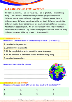 People and Cultures - Harmony (II) - Grade 1 (with 'Triple-Track Writing Lines')
