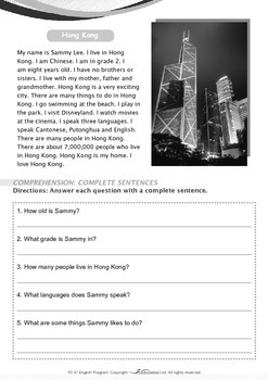 People and Cultures - Living in Hong Kong - Grade 2