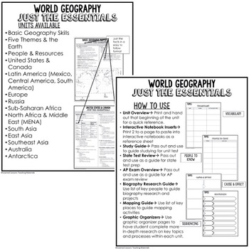 People and Resources, Geography Outline Notes JUST THE ESSENTIALS Unit Review