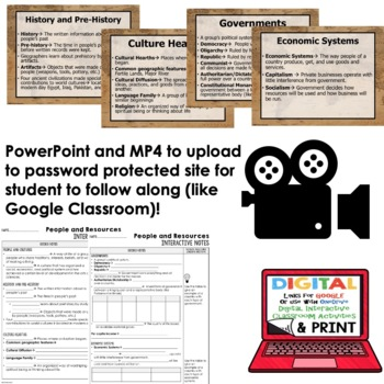 People and Resources Guided Notes and PowerPoints Geography, With Google Link