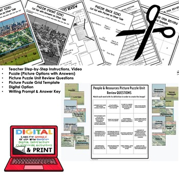People and Resources Picture Puzzle, Test Prep, Unit Review, Study Guide