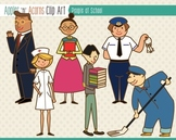 People at School Clip Art - color and outlines
