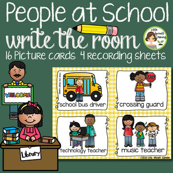 People at School Write the Room - 16 cards four versions, four recording sheets