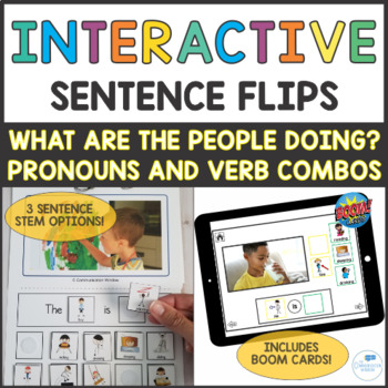 Pronouns and Verbs Interactive Sentence Flips - People Actions