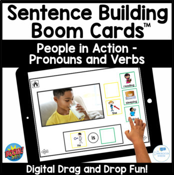 Pronouns and Verb Combos Interactive Sentence Flips - People Actions
