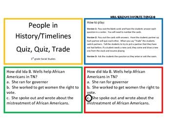 People in History and Timelines Quiz, Quiz, Trade Center/Game
