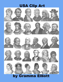 Presidents and Historical US People Clip Art - Antique Style