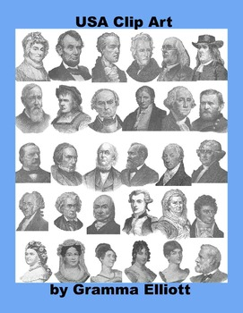 Presidents - US History Clip Art - Antique Style