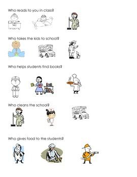 People in School Comprehension Worksheet