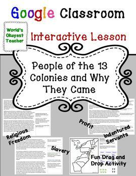 People of 13 Colonies : Google Classroom Interactive Lesson