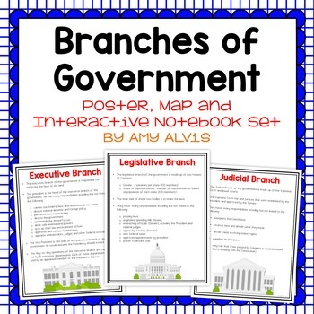 Branches of Government Poster and Interactive Notebook INB Set