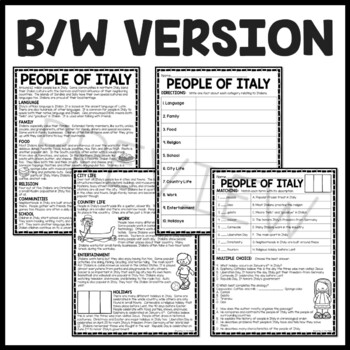 People of Italy Reading Comprehension Worksheet