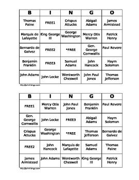 People of the American Revolution Bingo Cards