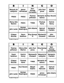 People of the American Revolution Bingo Cards