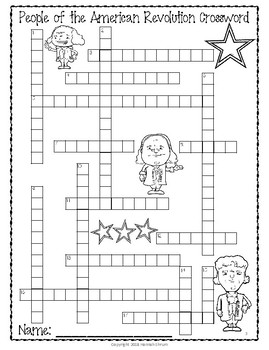 People of the American Revolution Crossword Puzzle