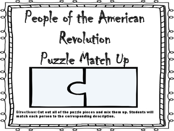 People of the American Revolution Puzzle Match Up