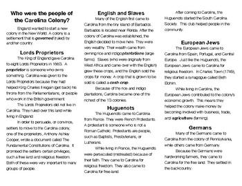 People of the Carolina Colony (South Carolina) Brochure