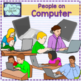 People working on computer Clip Art