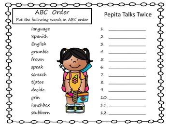 Pepita Talks Twice     45 pgs of Common Core Activities.