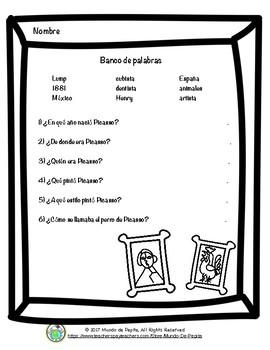 Pepita lee sobre Pablo Picasso Spanish Minibook and Activity Theme Pack