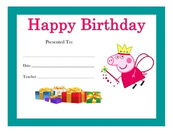 Peppa Pig Birthday Certificates Includes 6 Certificates