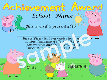 Peppa Pig Scene Achievement award English / Spanish version