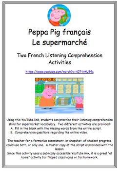 Peppa Pig Français Le Supermarché Listening Comprehension Activities