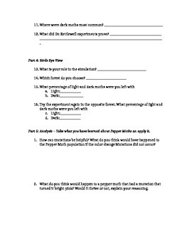 Pepper Moth Virtual Lab Student Worksheet: NGSS MS-LS4-4