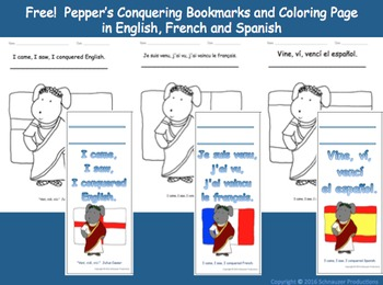 Pepper's Conquering Bookmarks and Coloring Page in English, French and Spanish