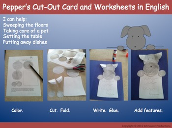 Pepper's Cut-Out Card and Worksheets in English